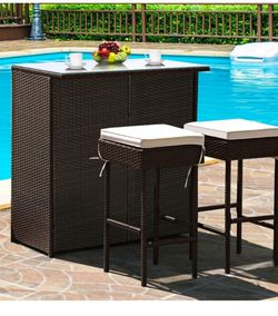 Costway 3PCS Patio Rattan Wicker Bar Table Stools Dining Set Cushioned Chairs Garden for Sale in Gardena,  CA