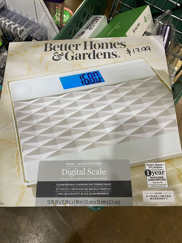 Better Homes & Gardens Digital Bathroom Scale/White 3D Diamond Pattern