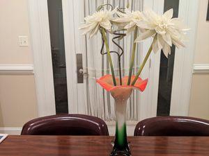 Orange, white, and green vase for Sale in Potomac, MD