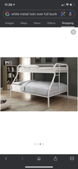 Sturdy white metal bunk bed - twin over full bed for Sale in Atlanta, GA