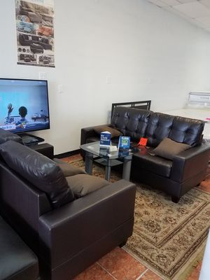 2-pcs Sofa Set Bonded Leather Living Room [Only $50 Down] [90 Days to Pay Cash Price & No Interest] for Sale in Irving, TX