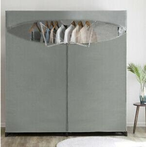 Portable Wardrobe Clothes Storage Organizer Closet with Hanging Rack Gray color 60-inch for Sale in Ontario, CA