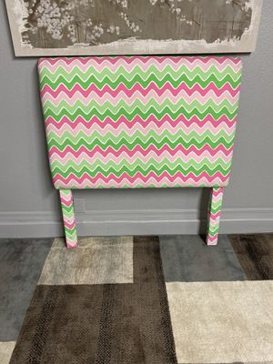 New twin pinks and greens wavy lines upholstered headboard for Sale in Surprise, AZ