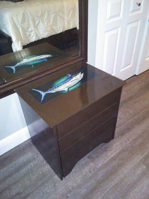 Fishing side table nightstand patio living room bedroom boat boating fishing nautical beach for Sale in Port St. Lucie, FL