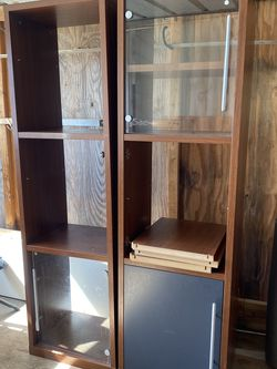 2 bookcases/bookshelves Comes with the adjustable shelves one of the glass doors is missing. Great condition, very sturdy. I have no more use for the for Sale in Chino Hills,  CA