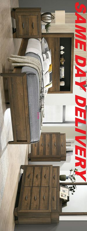 Brand New Nuevo 4 Piece(Bed Frame-Dresser- Mirror-Nightstand)Queen Size Krandall Brown Bookcase Bedroom Set. King Size Also Available for Sale in Houston, TX