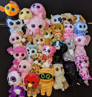 Ty beanie boos big eyes plush stuffed animals lot of 30 for Sale in Hyattsville, MD