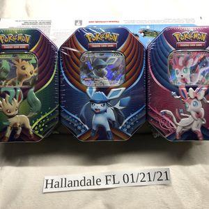 3 Sealed Pokemon TCG Evolution Celebration Tins Featuring Sylveon Glaceon Sylveon GX for Sale in Miami, FL