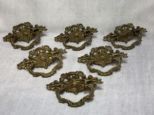 6 Antique Star Of David Jewish Brass Drawer Pulls Dresser Hardware Israel Hebrew for Sale in New Holland, PA