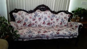 Antique couch wood carved make offer large no ripps or tears heavy 6 feet long for Sale in Las Vegas, NV