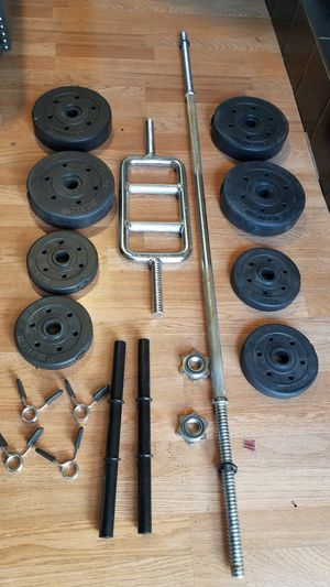 "5 foot standard 1"" barbell, Tricep barbell , 2x dumbbell handles and 4x7.5s 4x2.5s New in packaging for Sale in Montebello, CA"