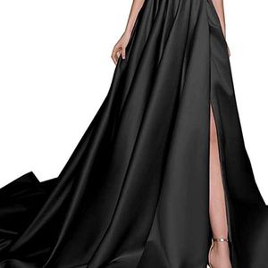 Black Women's Off The Shoulder Split Prom Dress Long Satin Formal Evening Gown with Pocket for Sale in Opa-locka, FL