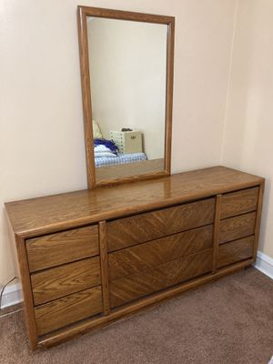 Wood Dresser and Matching Headboard for Sale in Bedford Park, IL