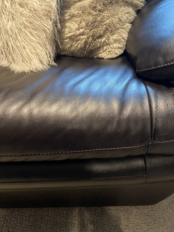 Black Leather Couch — Like New