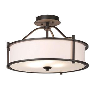 3-Light Chandelier with Fabric Shade and Frost Glass Diffuser in Dark Bronze Drum for Sale in Henderson, NV