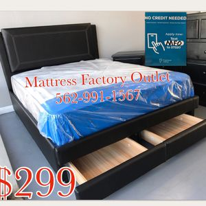 Queen size Platform bed frame with frame storage drawers. Black leatherette. Mattress included. for Sale in Bellflower, CA
