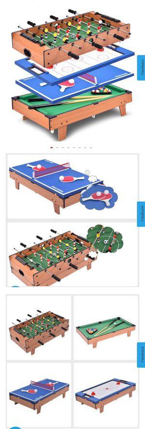 New 4 In 1 Multi Game Air Hockey Tennis Football Pool Table Billiard Swivel Indoor for Sale in Hacienda Heights, CA