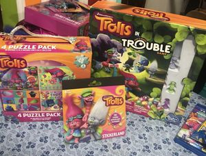Trolls ., Trolls in trouble. Game with figures. 4! Puzzles pack, STICKERS! Book Excellent condition puzzle and stickers are new, trouble game is i for Sale in Bethlehem, PA