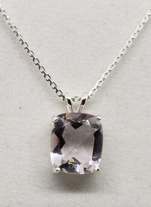 Natural 12x10mm Emerald Morganite Silver Necklace for Sale in Justin, TX