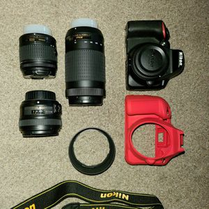 Nikon D3500 With 3 Lens / Camera Casing / Neck Strap for Sale in Springfield, MA
