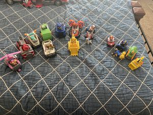 Paw patrol original characters vehicles and extras. With backpack for Sale in Clovis, CA