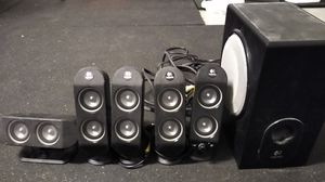 Logitech X-530 5.1 Surround Sound Speakers with phone audio cable for Sale in West Menlo Park, CA