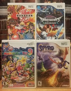 4 Nintendo Wii Game Lot Spectrobes Origins Mario Party 9 Bakugan Battle Brawlers Spyro Complete Anime Games for Sale in Tampa, FL