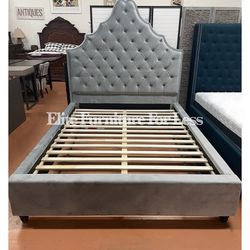 Queen Gray Velvet like Fabric Bed Frame for Sale in Chula Vista,  CA