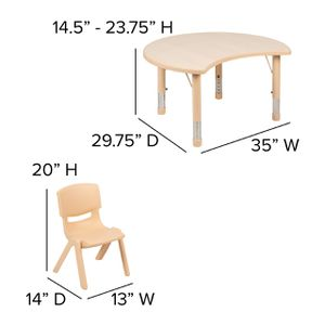 Crescent Natural Plastic Height Adjustable Activity Table Set with 2 Chairs for Sale in Los Angeles, CA