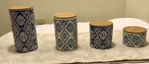 4 piece blue and white canister set for Sale in Gainesville, VA