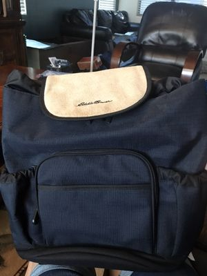 Eddie Bauer Dark Navy Blue with Tan Leather Flap School or Work Backpack Book Bag for Sale in Gilbert, AZ