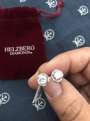Cubic Zirconia Diamond Sterling Silver Post/Stud Earrings for Sale in Redlands, CA