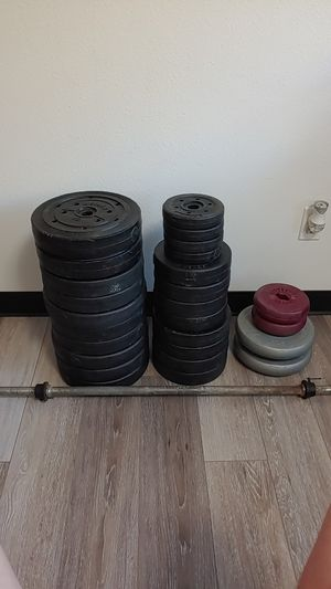 Plate Weight And Barbell for Sale in Milwaukie, OR