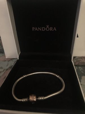 SILVER CHARM BRACELET WITH PANDORA ROSE CLASP for Sale in Jersey City, NJ