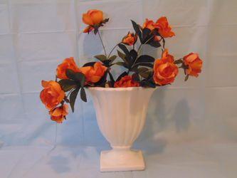 Artificial Orange Flowers in White vase for Sale in Lakeland,  FL