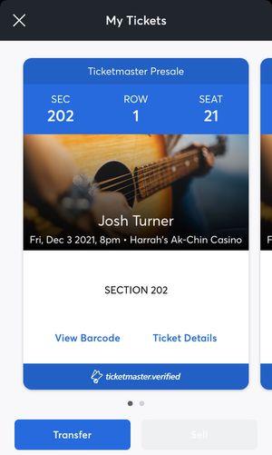 Josh Turner Tickets for Sale in Maricopa, AZ