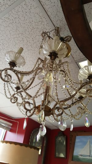 Vintage pretty brass with crystals chandelier hanging light fixture for Sale in Medford, MA