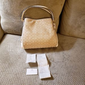 Coach Monogram C Canvas & White Leather Large 3 Section Purse Bag Brand New for Sale in Pittsburgh, PA
