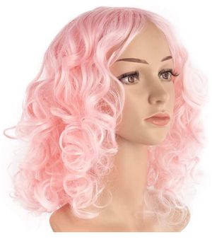 14'' Natural Short Curly Wig, Colorful Bob Wigs for Women, Shoulder Length Curly Wavy Synthetic Wigs, Heat Resistant Fiber Cosplay Wigs for Hallowee for Sale in Queens, NY