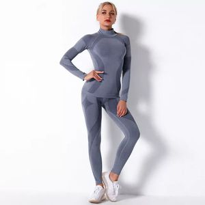 2020 Fall Winter Women Yoga Set 2Pcs Sports Suits Seamless Gym Leggings Long Sleeve Crop Top Jacket Fitness Sportswear Tracksuit for Sale in Lehigh Acres, FL