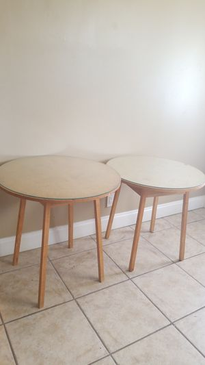 2 Wood round tables w/glass for Sale in Greenacres, FL