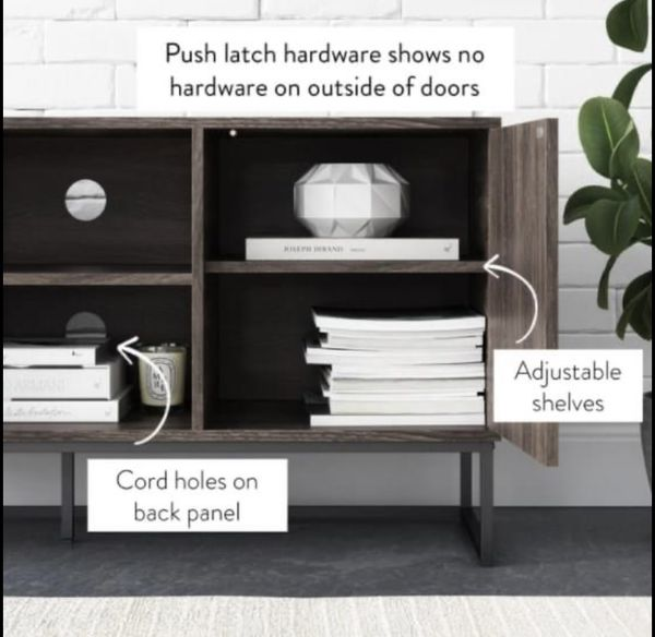 NEW Gray and Black Wood TV Stand Fits TVs Up to 55 in. with Storage Doors