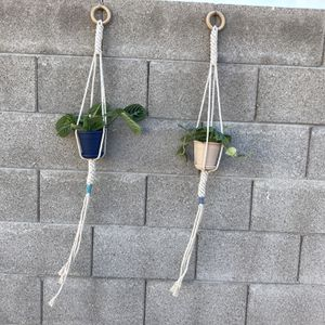 Pair Of Macrame Plant Decor Hangers Holders 4in Or 6in for Sale in Phoenix, AZ
