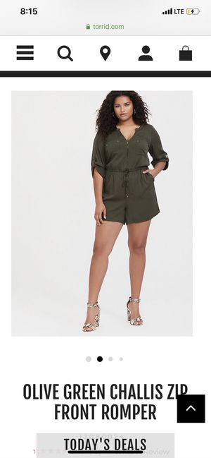 Olive green Romper Torrid for Sale in Beaumont, TX