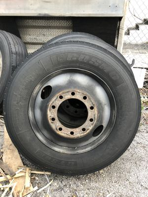"285/75/24.5 STEEL wheels + Tires 24"" semi truck trailer for Sale in Miami, FL"