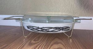 """Vintage 1958 Pyrex """"Barbed Wire"""" Promotional Pattern 1 1/2 Quart Divided Oval Glass Baking Dish w/ Lid for Sale in Livermore, CA"""