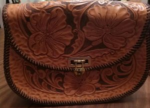 Leather hand tooled purse vintage 1970s for Sale in North Port, FL