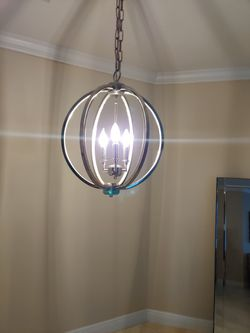 Champagne Metal and Crystal Orb 3-light Chandelier for Sale in Vancouver,  WA