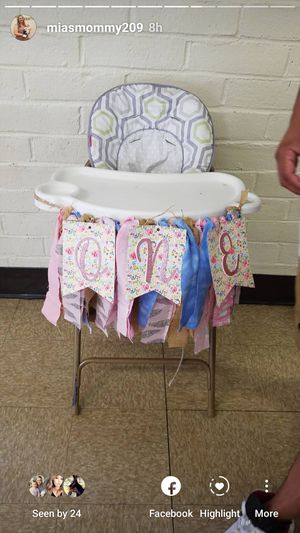 Glitter pink,floral cloth high chair banner ONE for Sale in Modesto, CA