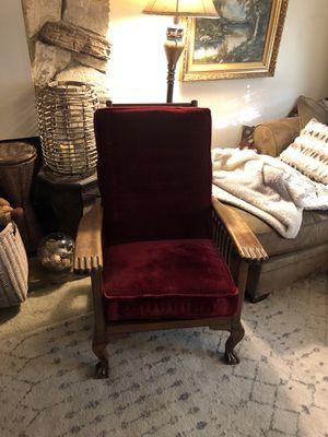 Red velvet antique Morris chair for Sale in Downey, CA